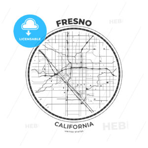 T-shirt map badge of Fresno, California - HEBSTREITS