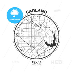 T-shirt map badge of Garland, Texas - HEBSTREITS