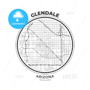T-shirt map badge of Glendale, Arizona - HEBSTREITS