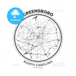 T-shirt map badge of Greensboro, North Carolina - HEBSTREITS