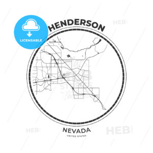 T-shirt map badge of Henderson, Nevada - HEBSTREITS