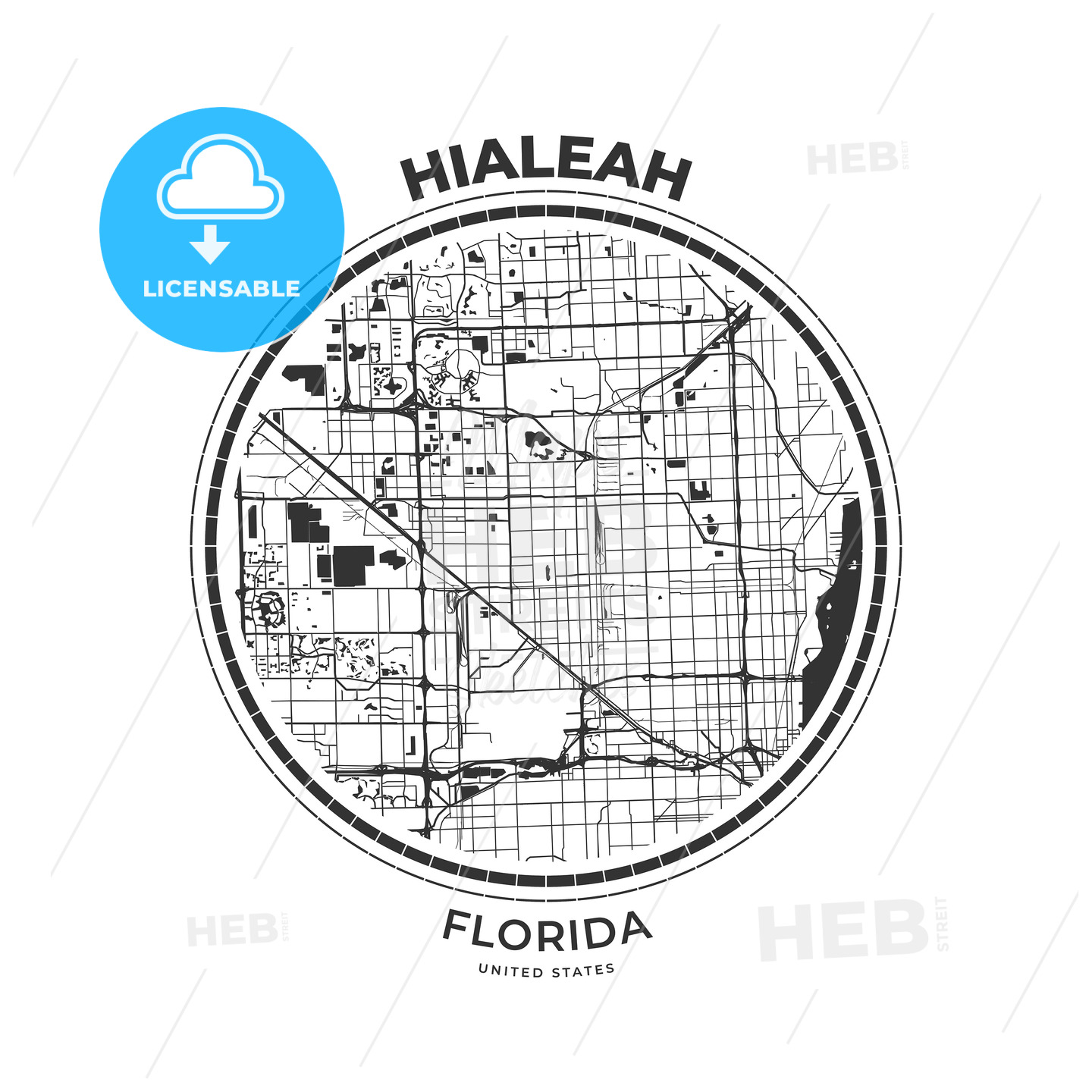 T Shirt Map Badge Of Hialeah Florida Hebstreits Sketches