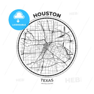 T-shirt map badge of Houston, Texas - HEBSTREITS