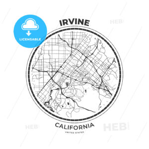 T-shirt map badge of Irvine, California - HEBSTREITS