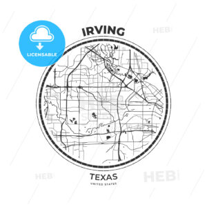 T-shirt map badge of Irving, Texas - HEBSTREITS
