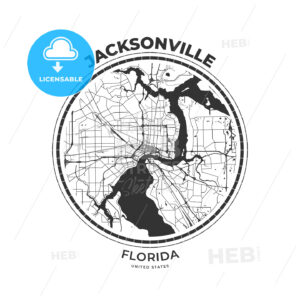 T-shirt map badge of Jacksonville, Florida - HEBSTREITS