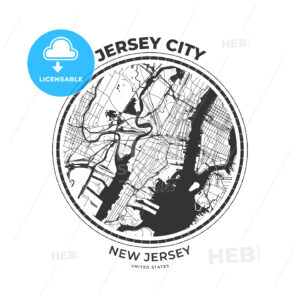 T-shirt map badge of Jersey City, New Jersey - HEBSTREITS