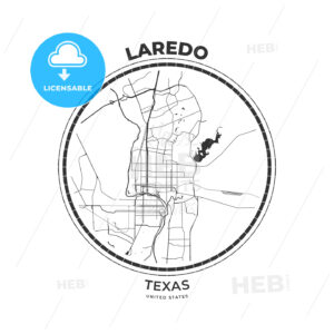 T-shirt map badge of Laredo, Texas - HEBSTREITS