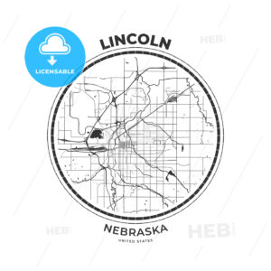 T-shirt map badge of Lincoln, Nebraska - HEBSTREITS