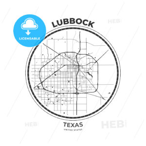 T-shirt map badge of Lubbock, Texas - HEBSTREITS