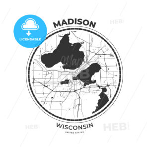 T-shirt map badge of Madison, Wisconsin - HEBSTREITS