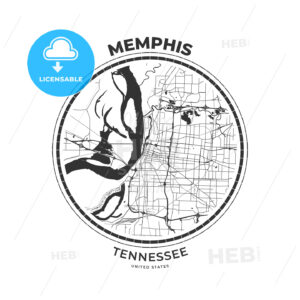 T-shirt map badge of Memphis, Tennessee - HEBSTREITS