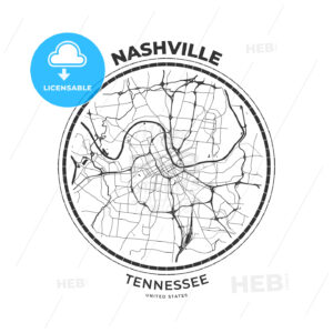 T-shirt map badge of Nashville, Tennessee - HEBSTREITS