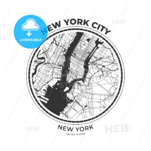T-shirt map badge of New York City, New York - HEBSTREITS