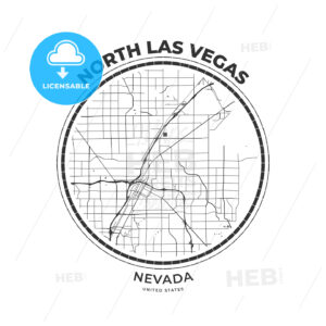 T-shirt map badge of North Las Vegas, Nevada - HEBSTREITS
