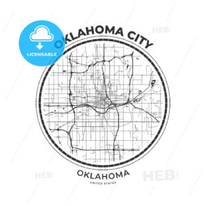 T-shirt map badge of Oklahoma City, Oklahoma - HEBSTREITS