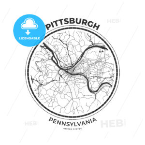 T-shirt map badge of Pittsburgh, Pennsylvania - HEBSTREITS