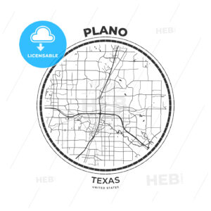T-shirt map badge of Plano, Texas - HEBSTREITS
