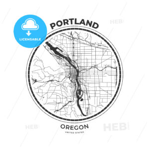 T-shirt map badge of Portland, Oregon - HEBSTREITS