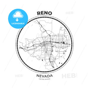 T-shirt map badge of Reno, Nevada - HEBSTREITS