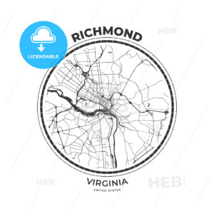 T-shirt map badge of Richmond, Virginia - HEBSTREITS