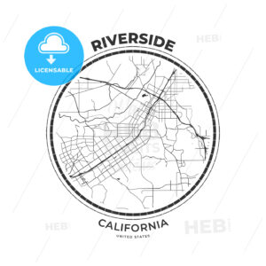 T-shirt map badge of Riverside, California - HEBSTREITS