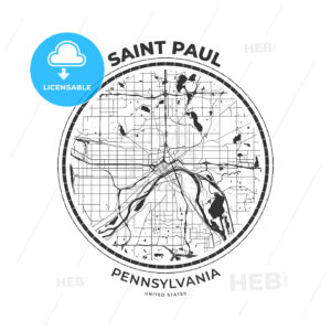 T-shirt map badge of Saint Paul, Minnesota - HEBSTREITS