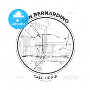 T-shirt map badge of San Bernardino, California - HEBSTREITS