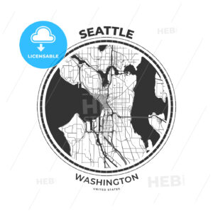 T-shirt map badge of Seattle, Washington - HEBSTREITS