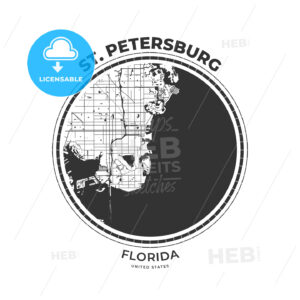 T-shirt map badge of St. Petersburg, Florida - HEBSTREITS