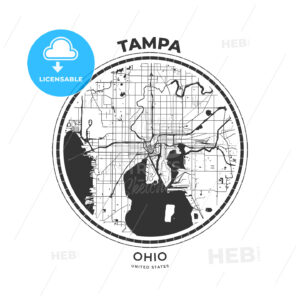 T-shirt map badge of Tampa, Florida - HEBSTREITS