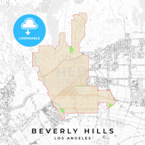 Vector map of Beverly Hills, Los Angeles, USA - HEBSTREITS