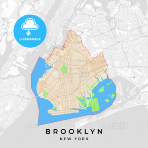 Vector map of Brooklyn, New York, USA - HEBSTREITS
