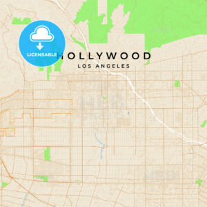 Vector map of Hollywood, Los Angeles, USA - HEBSTREITS