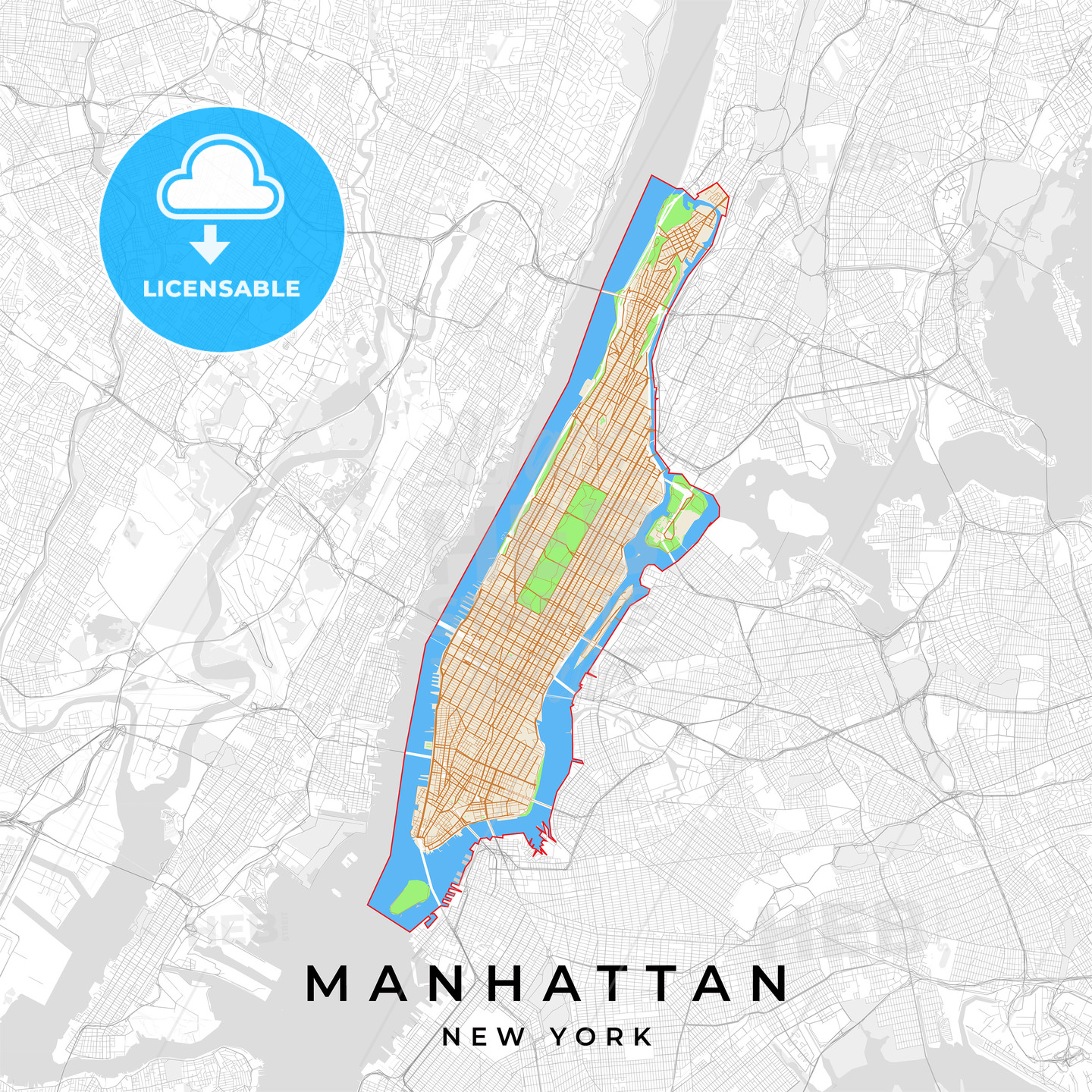 New York On Usa Map.Vector Map Of Manhattan New York Usa Hebstreits
