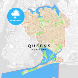 Vector map of Queens, New York, USA - HEBSTREITS