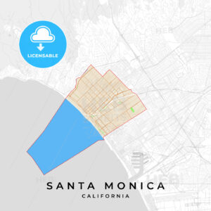Vector map of Santa Monica, California, USA - HEBSTREITS