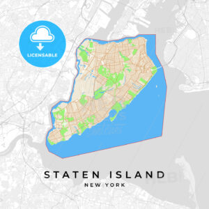 Vector map of Staten Island, New York, USA - HEBSTREITS