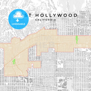 Vector map of West Hollywood, California, USA - HEBSTREITS