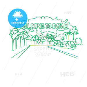 Welcome to Batam outline drawing - HEBSTREITS