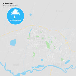 Printable street map of Baotou, China - HEBSTREITS