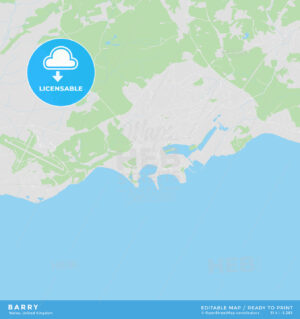 Printable street map of Barry, Wales - HEBSTREITS