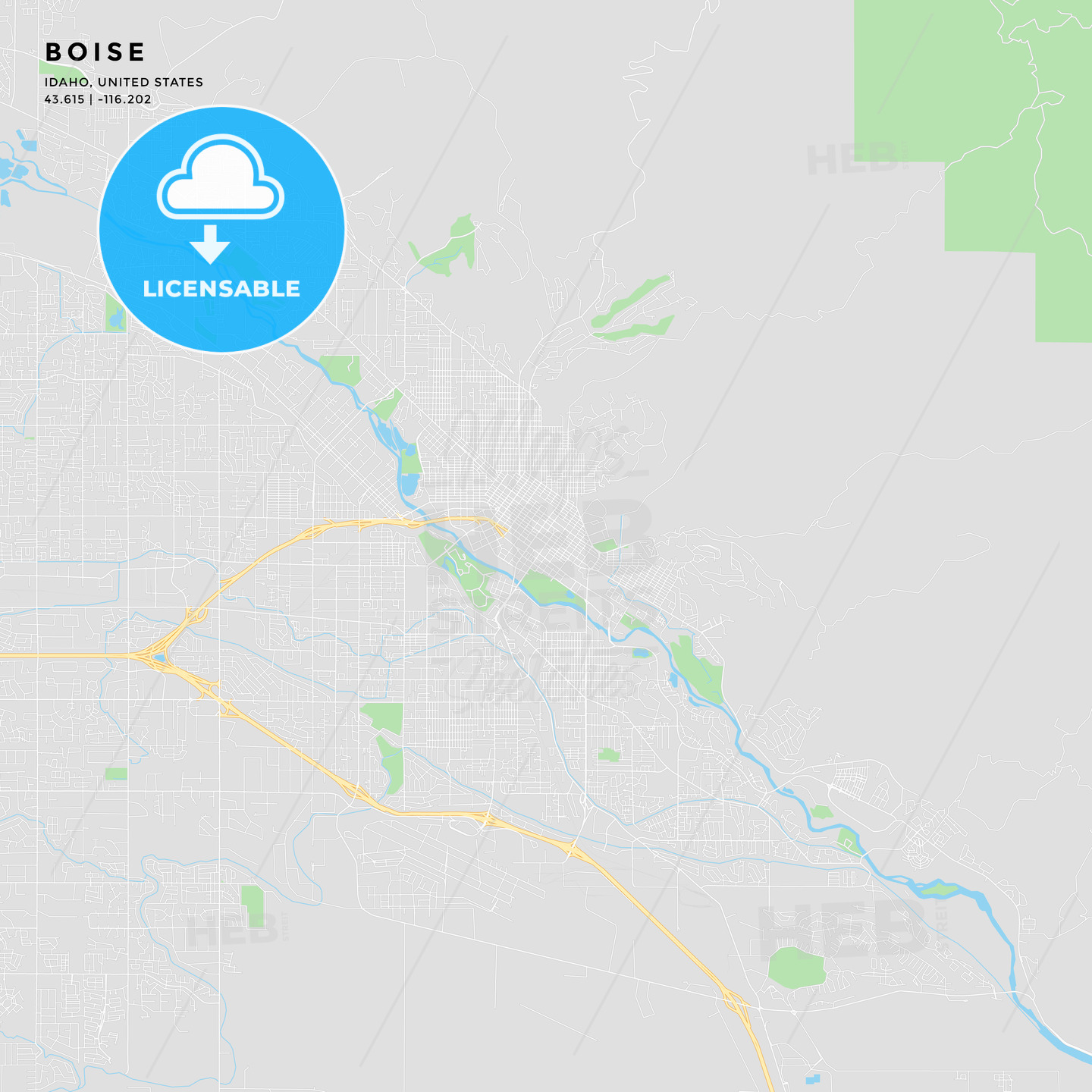 graphic relating to Printable Map of Idaho named Printable road map of Boise, Idaho