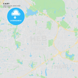 Printable street map of Cary, North Carolina - HEBSTREITS