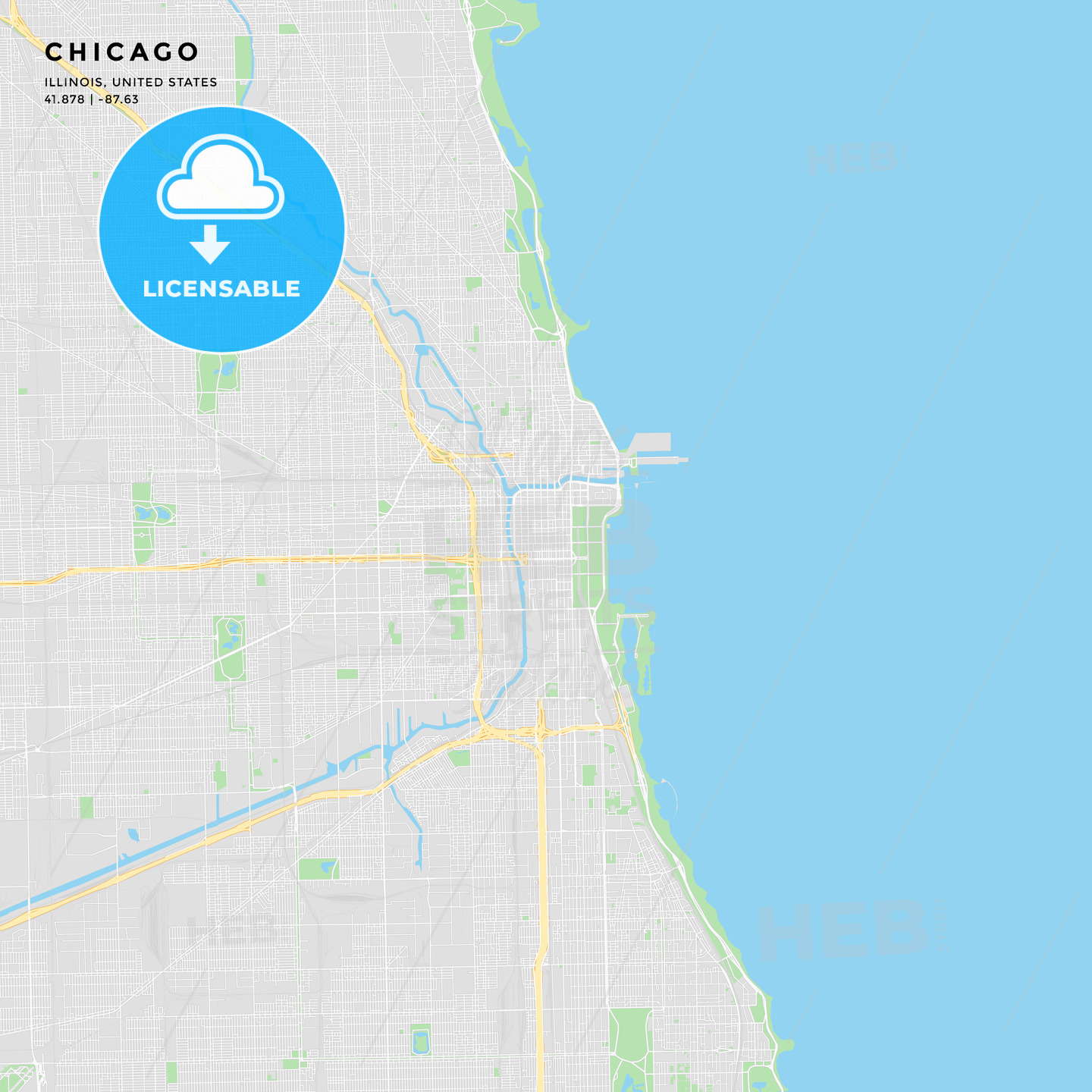 photo relating to Printable Map of Chicago identified as Printable highway map of Chicago, Illinois