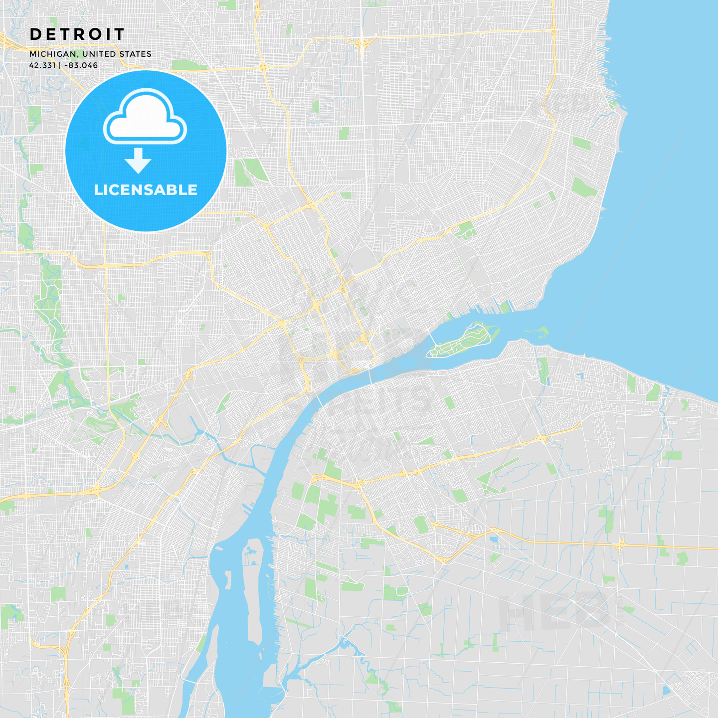 Printable Street Map Of Detroit Michigan Hebstreits Sketches