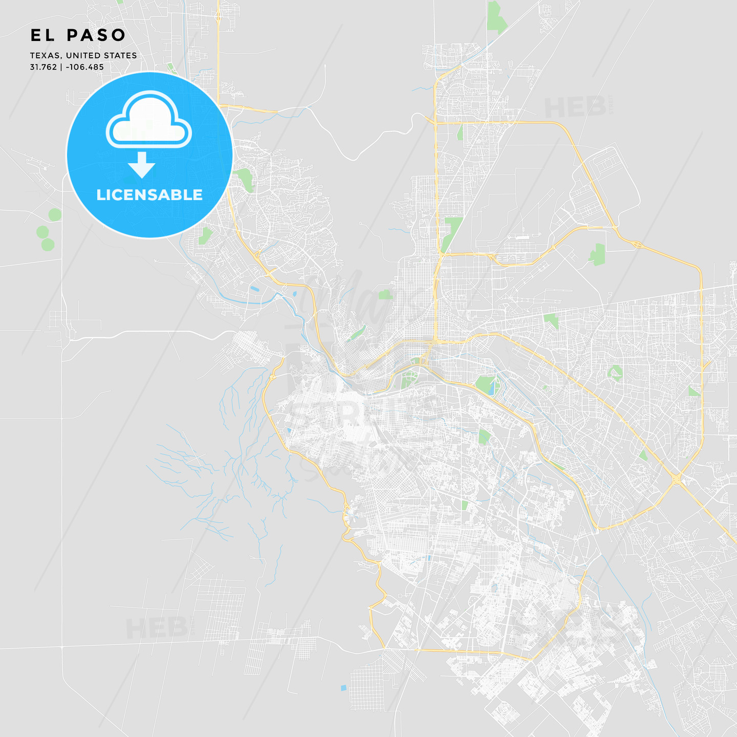 Printable street map of El Paso, Texas