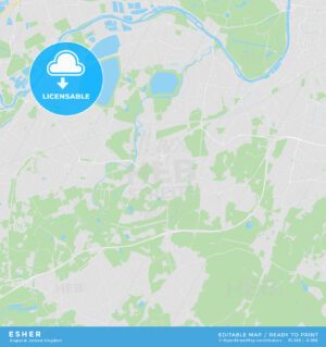 Printable street map of Esher, England - HEBSTREITS