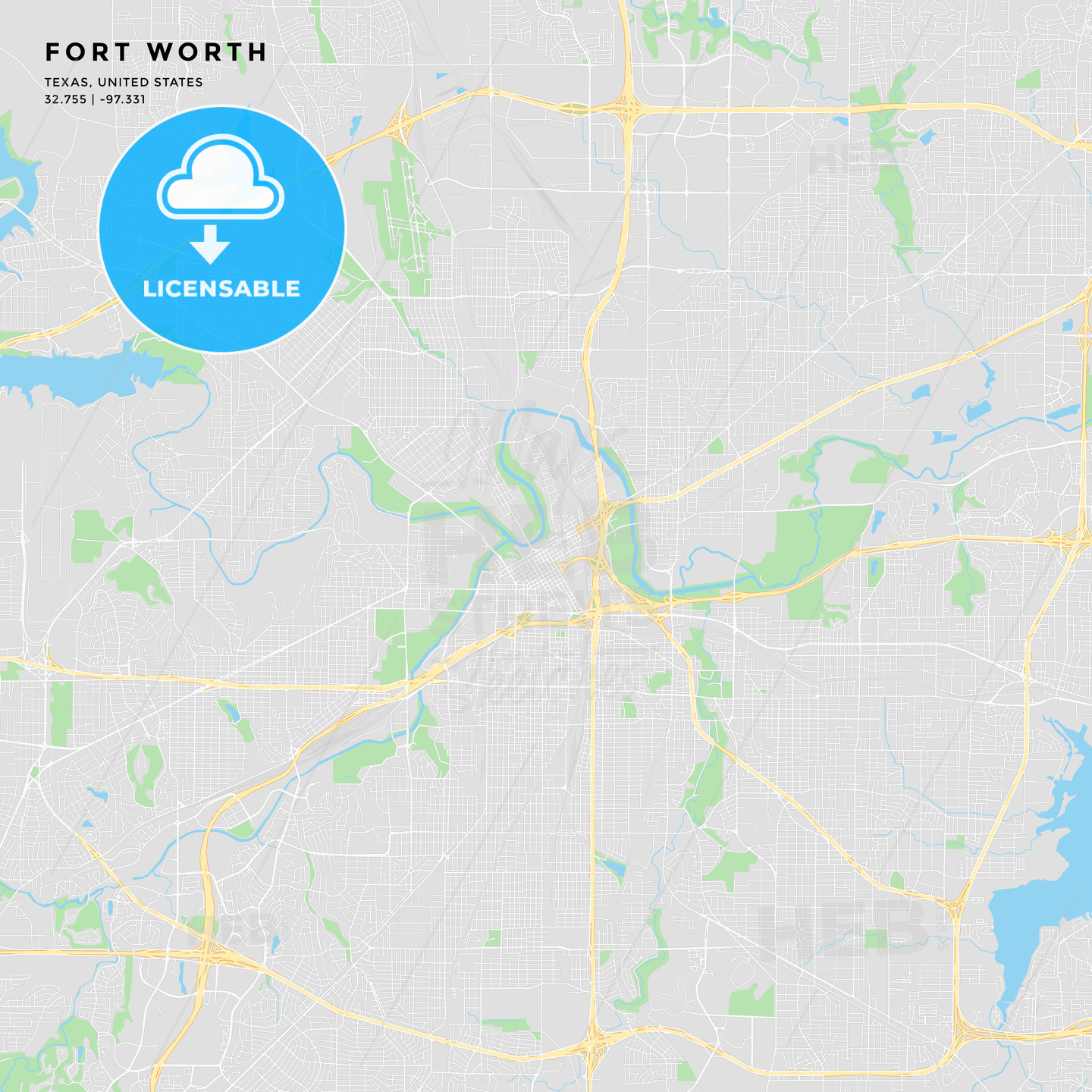 Printable street map of Fort Worth, Texas