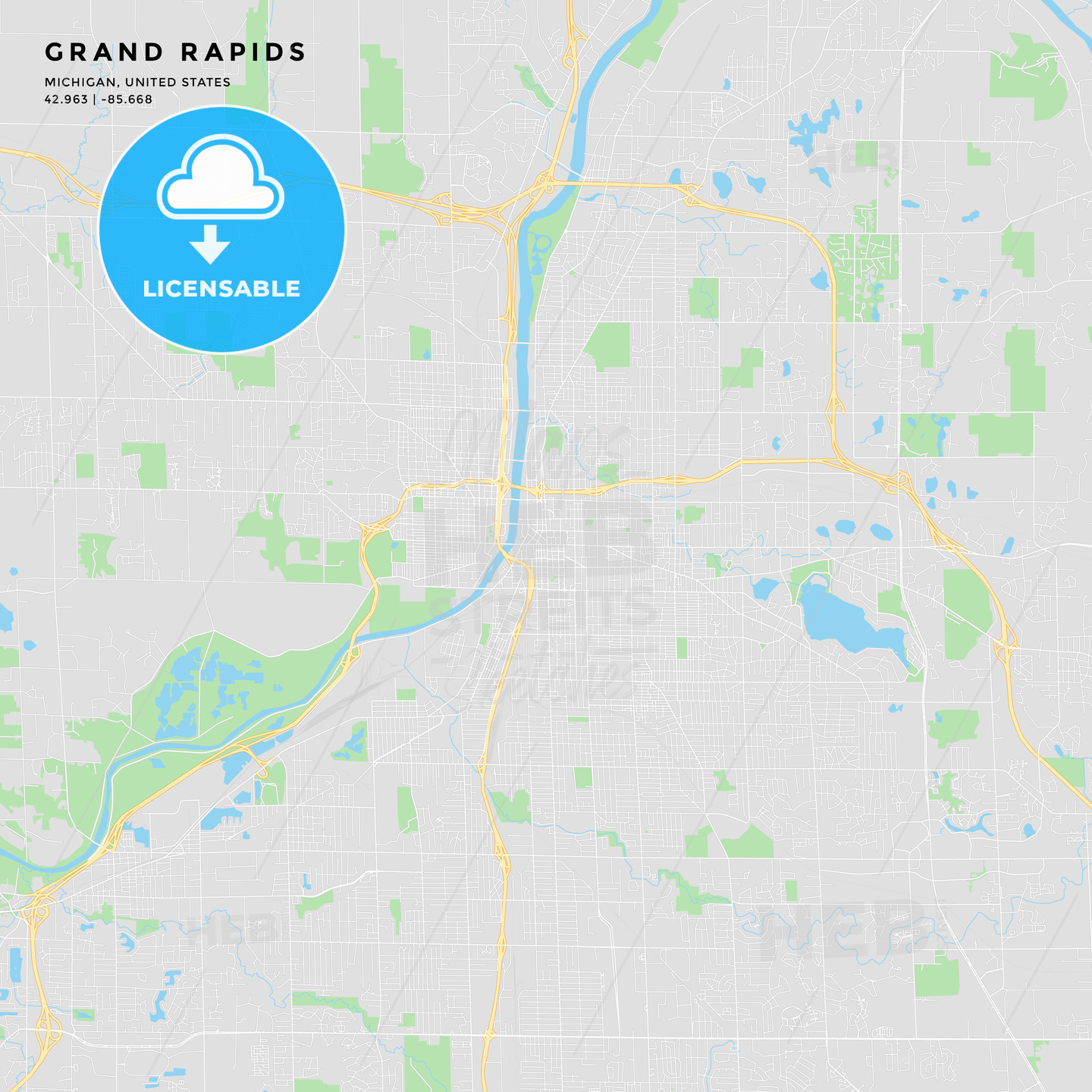 Printable Street Map Of Grand Rapids Michigan Hebstreits Sketches